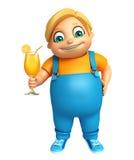 Menino da criança com Juice Glass Imagens de Stock