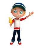 Menino da criança com Juice Glass Imagem de Stock Royalty Free