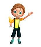 Menino da criança com Juice Glass Fotografia de Stock