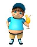 Menino da criança com Juice Glass Imagem de Stock