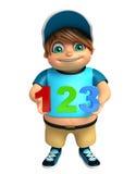 Menino da criança com sinal 123 Fotografia de Stock Royalty Free