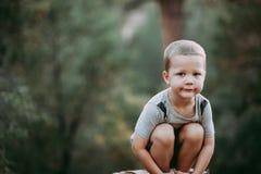 Menino da criança de 4 anos nas madeiras Foto de Stock Royalty Free
