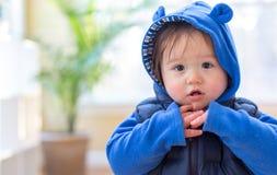 Menino da criança empacotado acima na roupa do inverno foto de stock royalty free