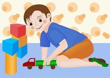 Menino da criança que joga com caminhão do brinquedo Imagem de Stock