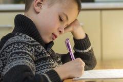 Menino da idade escolar da criança que faz seus trabalhos de casa Foto de Stock Royalty Free