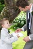 Menino da página que entrega o casamento Ring To Groom fotos de stock