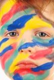 Menino da pintura da cor do retrato foto de stock