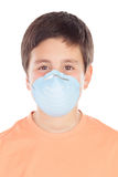 Menino de aproximadamente doze com máscara da alergia Fotos de Stock