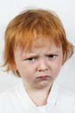 Menino de cabelo vermelho triste Foto de Stock