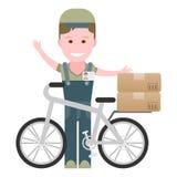 Menino de entrega com uma bicicleta Fotos de Stock Royalty Free