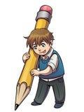 Menino de escola com lápis grande Foto de Stock Royalty Free