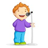 Menino de escola de canto ilustração stock