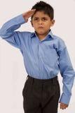 Menino de escola de saudação Imagens de Stock Royalty Free