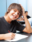 Menino de escola de sorriso Fotografia de Stock Royalty Free