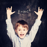 Menino de escola engraçado da criança Foto de Stock Royalty Free