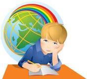 Menino de escola engraçado que faz os trabalhos de casa isolados ilustração do vetor