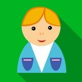 Menino de escola no ícone uniforme, estilo liso ilustração do vetor