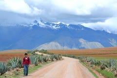 Menino de escola peruano nos Andes fotos de stock royalty free