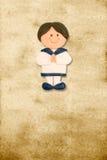 Menino de marinheiro engraçado comunhão vertical do cartão do primeiro Fotografia de Stock