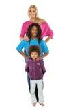 Menino de Rasta com suas irmãs isoladas no branco Fotos de Stock Royalty Free