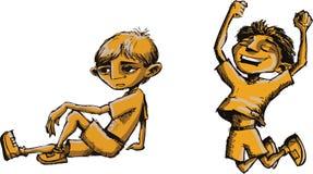 Menino de salto e menino de pensamento ilustração do vetor