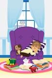 Menino de sono com livros ilustração do vetor