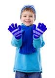 Menino de sorriso na roupa do inverno Foto de Stock Royalty Free