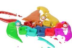 Menino de três desenhos animados e as letras bonitos das crianças, ilustração 3D Imagem de Stock