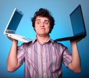 Menino Disappointed com dois cadernos Fotos de Stock