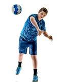 Menino do adolescente do jogador do handball isolado Fotografia de Stock Royalty Free
