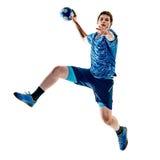 Menino do adolescente do jogador do handball isolado Fotos de Stock