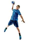 Menino do adolescente do jogador do handball isolado Foto de Stock