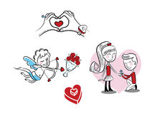 Menino do amor e menina, cupido, anel Fotografia de Stock Royalty Free