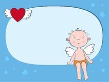 Menino do anjo por carta. Imagem de Stock Royalty Free