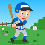 Menino do basebol no parque Fotografia de Stock Royalty Free