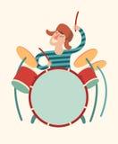 Menino do baterista, illustratio dos desenhos animados do vetor Imagem de Stock Royalty Free