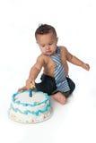 Menino do bebê de um ano com bolo de aniversário Foto de Stock