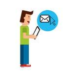 Menino do caráter com o cursor do email da tabuleta ilustração stock