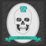 Menino do crânio dos desenhos animados com um mohawk Foto de Stock Royalty Free
