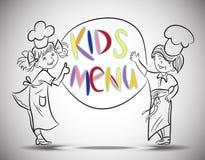 Menino do esboço e menu das crianças das meninas Foto de Stock