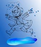 Menino do esboço sob o salto da mola da chuva nas poças Imagens de Stock Royalty Free