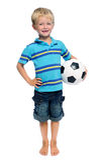 Menino do futebol no estúdio Imagem de Stock