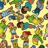 Menino do lúpulo do quadril dos desenhos animados que dança o teste padrão sem emenda Foto de Stock