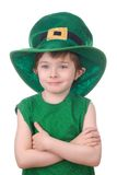 Menino do Leprechaun isolado no branco Imagem de Stock Royalty Free