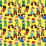 Menino do lúpulo do quadril dos desenhos animados que dança o teste padrão sem emenda Foto de Stock Royalty Free