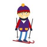 Menino do Natal que joga a ilustração feliz do vetor do caráter da criança do lazer do jogo do inverno Foto de Stock