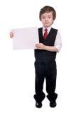 Menino do negócio que prende o sinal em branco Fotos de Stock Royalty Free