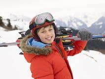 Menino do Pre-teen em férias do esqui foto de stock royalty free