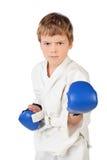Menino do pugilista na luta branca e azul das luvas de encaixotamento imagem de stock