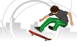 Menino do skater no fundo urbano industrial Imagens de Stock Royalty Free